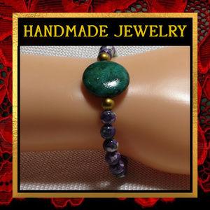 Purple and Green Stone Stretch Bracelet #577